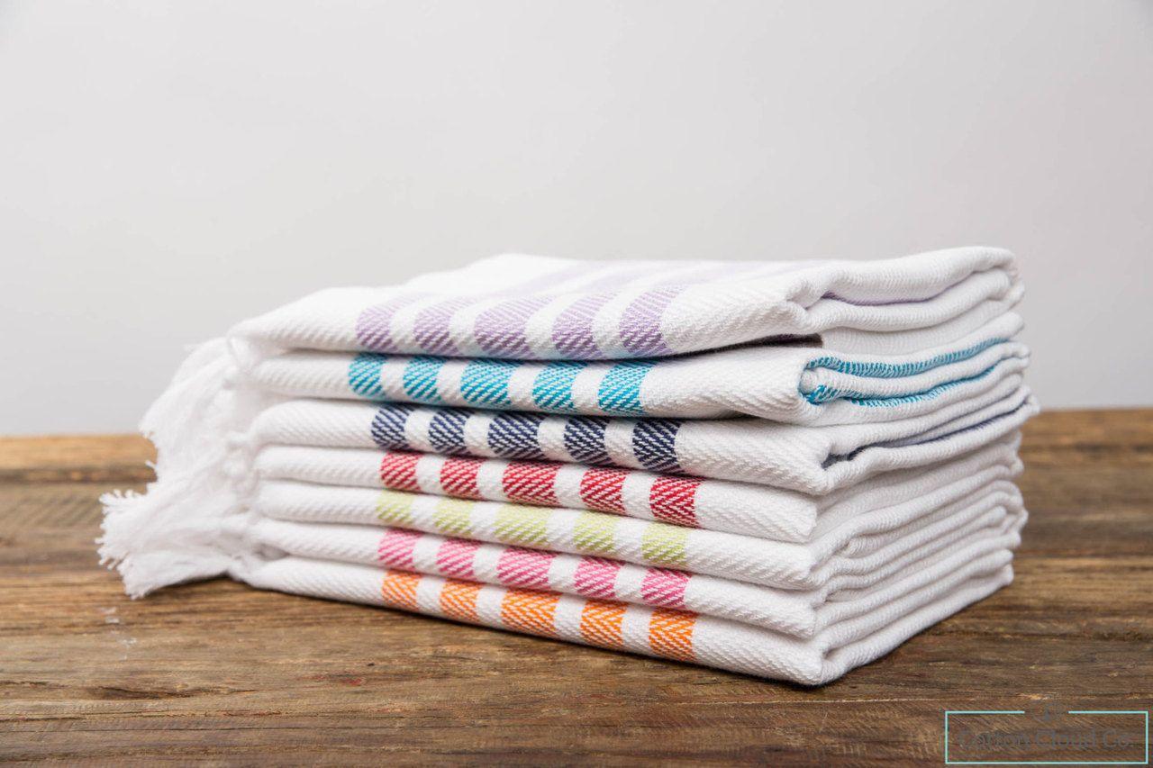 Cottoncloudco Set Of 2 Aegean Striped Hand Head Towel Turkish Tea