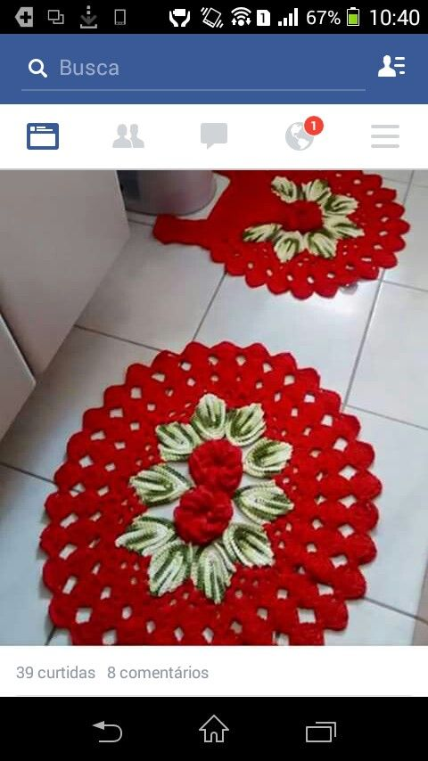 Tapete Harmonia Vermelho Esteira De Croche Jogos De Banheiro Croche Para Casa