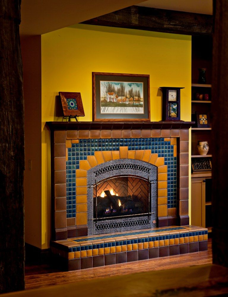 Custom Arch Fireplace by Motawi Tileworks www.motawi.com