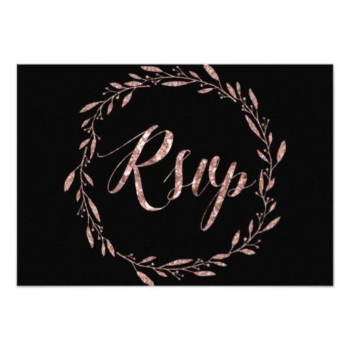 Rose Gold Foil Black RSVP Cards For Wedding Wreath