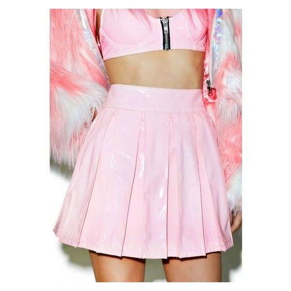 24HRS X Dolls Kill Princess Pastel Vinyl Skirt ❤ liked on Polyvore featuring skirts, vinyl skirts, pink vinyl skirt, pastel pink skirt, pink knee length skirt and babydoll skirt