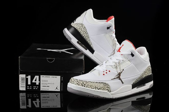 b39d30fe16b Nike Jordan 3 Size 14 & 15 & 16 White & Cement Grey/Fire Red Mens Athletic  Sneakers