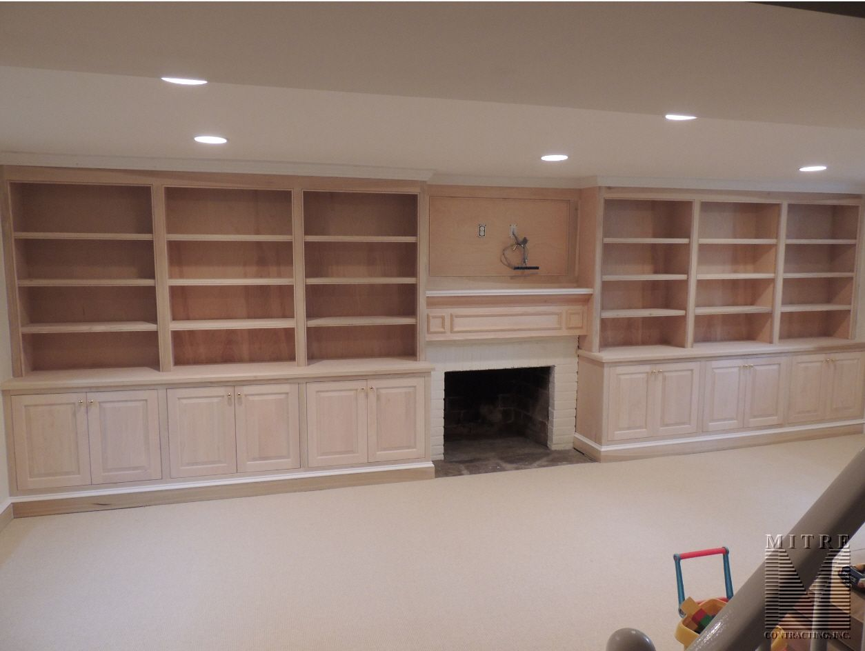 All Maple Built In Cabinetry Each Side Of Fireplace With Boxed