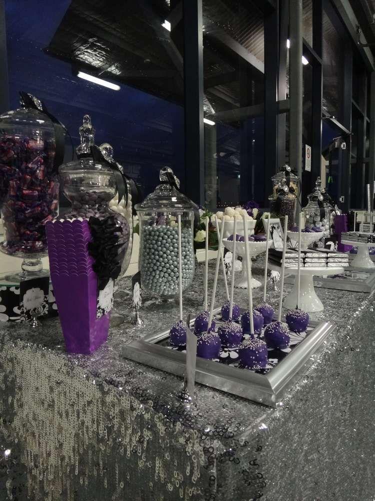 Purple Black White And Silver Birthday Party Ideas Wedding
