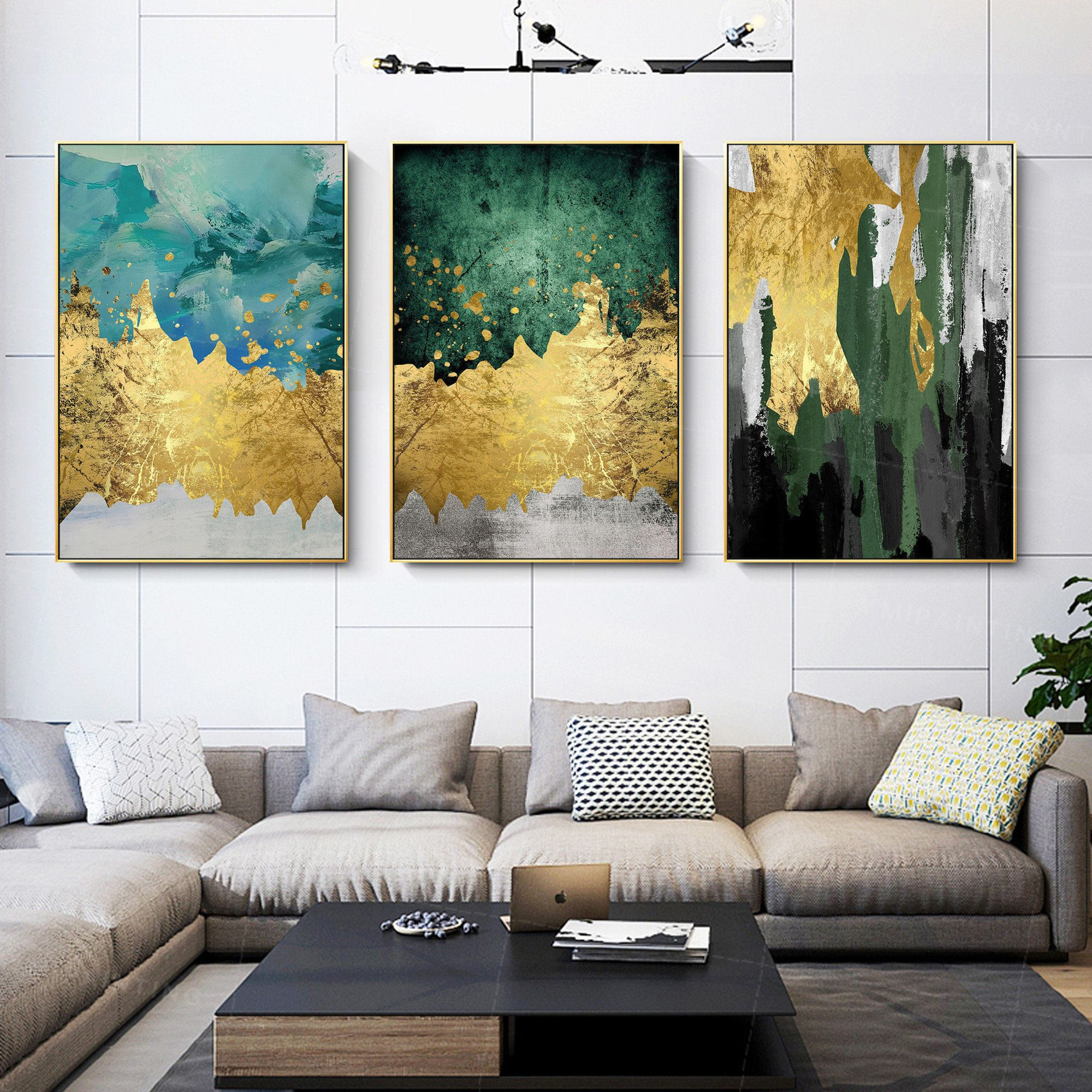 Gold Leaf Framed Painting Set Of 3 Wall Art Gold Art Acrylic Etsy In 2021 Painting Frames Wall Art Gold Leaf Wall Canvas Painting