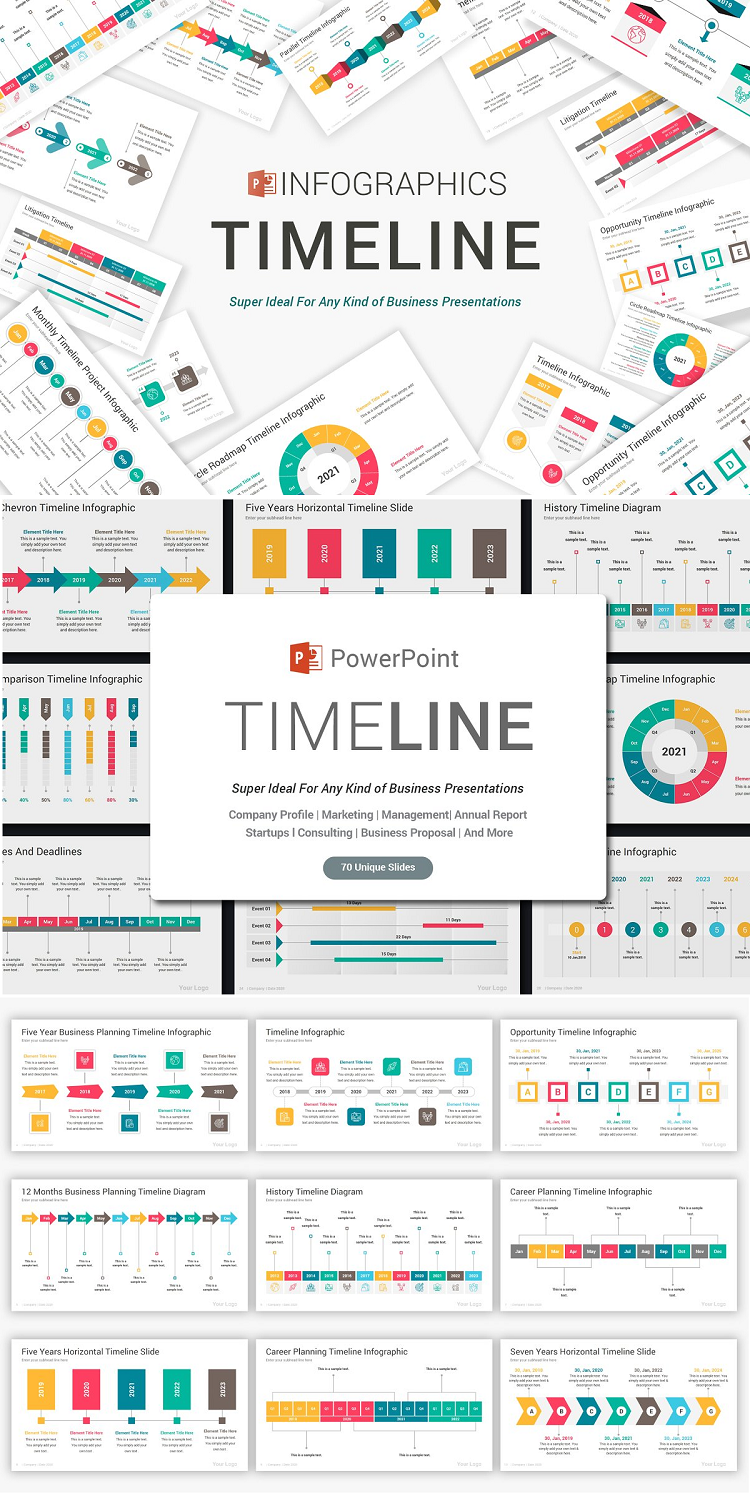 Timeline PowerPoint Template Big Collection of Modern