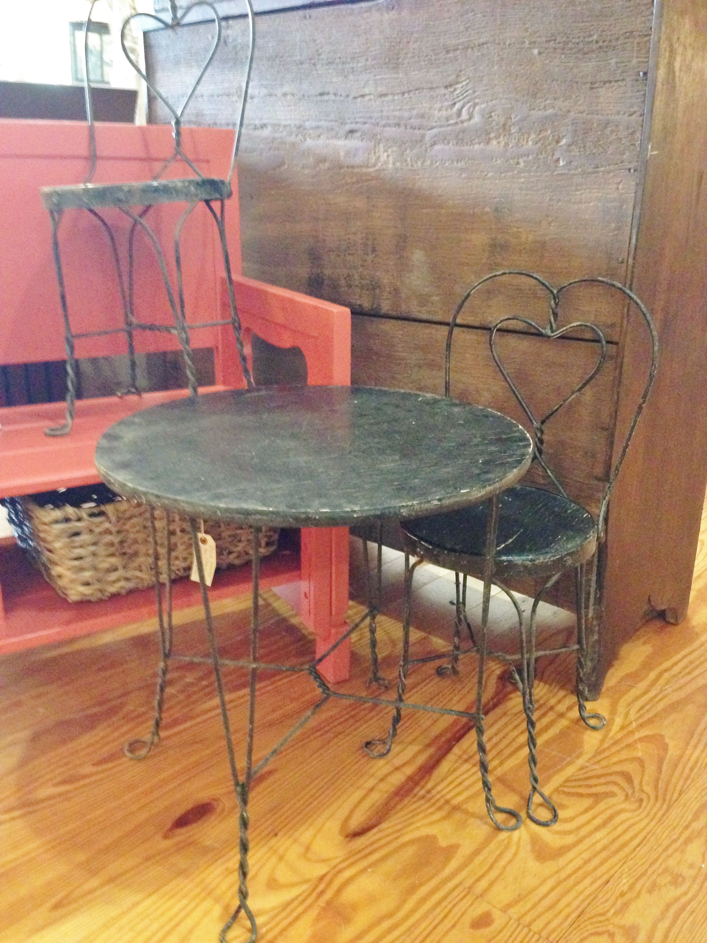 Old Child s Ice Cream Parlor Table & Chair Set Metal & Wood