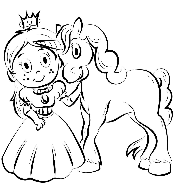 Princess With Unicorn Coloring Page Unicorn Coloring Pages Princess Coloring Pages Coloring Pages