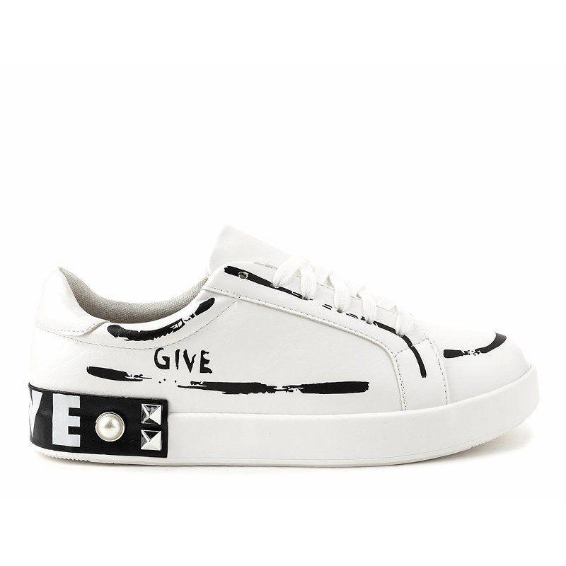 Biale Trampki Zdobione Cwiekami G272 Sneakers Shoes Golden Goose Sneaker