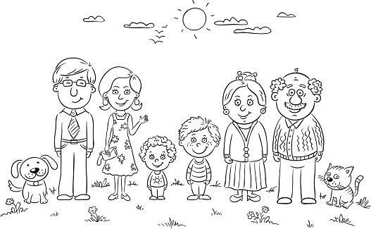 Happy Family Outline Vector Art Illustration Family Coloring Pages Family Coloring Family Drawing