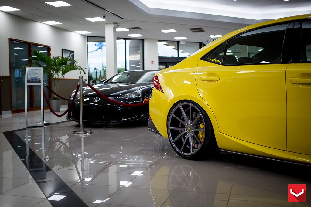 LFA Yellow Lexus IS F Sport On Vossen CV3 R