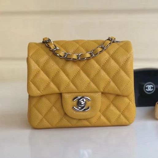 a63331713084 Chanel Quilting Pearl Caviar Calfskin Mini Square Classic Flap Bag Yellow  2018