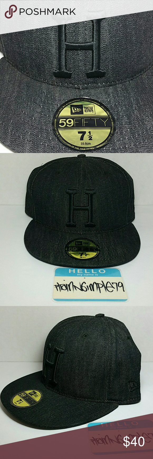 bef51cbec5a HUF New Era Black Denim Fitted 7 1 2 Excellent Condition HUF New Era Black