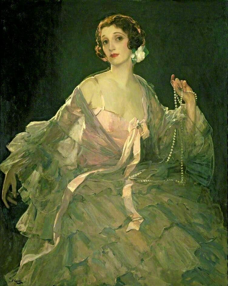 Hazel in Rose and Gray - Sir John Lavery  Irish 1856-1941