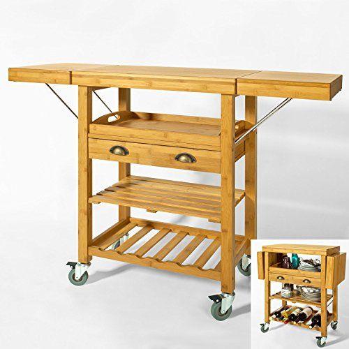 dieser luxus k chenwagen ist aus hochwertigen und robusten bambus die arbeitsfl che bietet viel. Black Bedroom Furniture Sets. Home Design Ideas