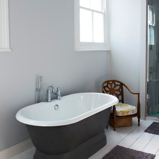 Freestanding Bath In Charcoal And White Bathroom