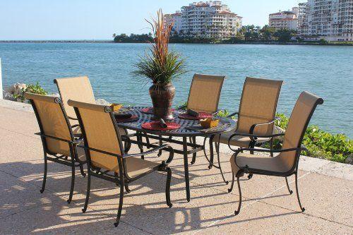 7 Piece Aluminum Dining Set Outdoor Patio Furniture Onyx
