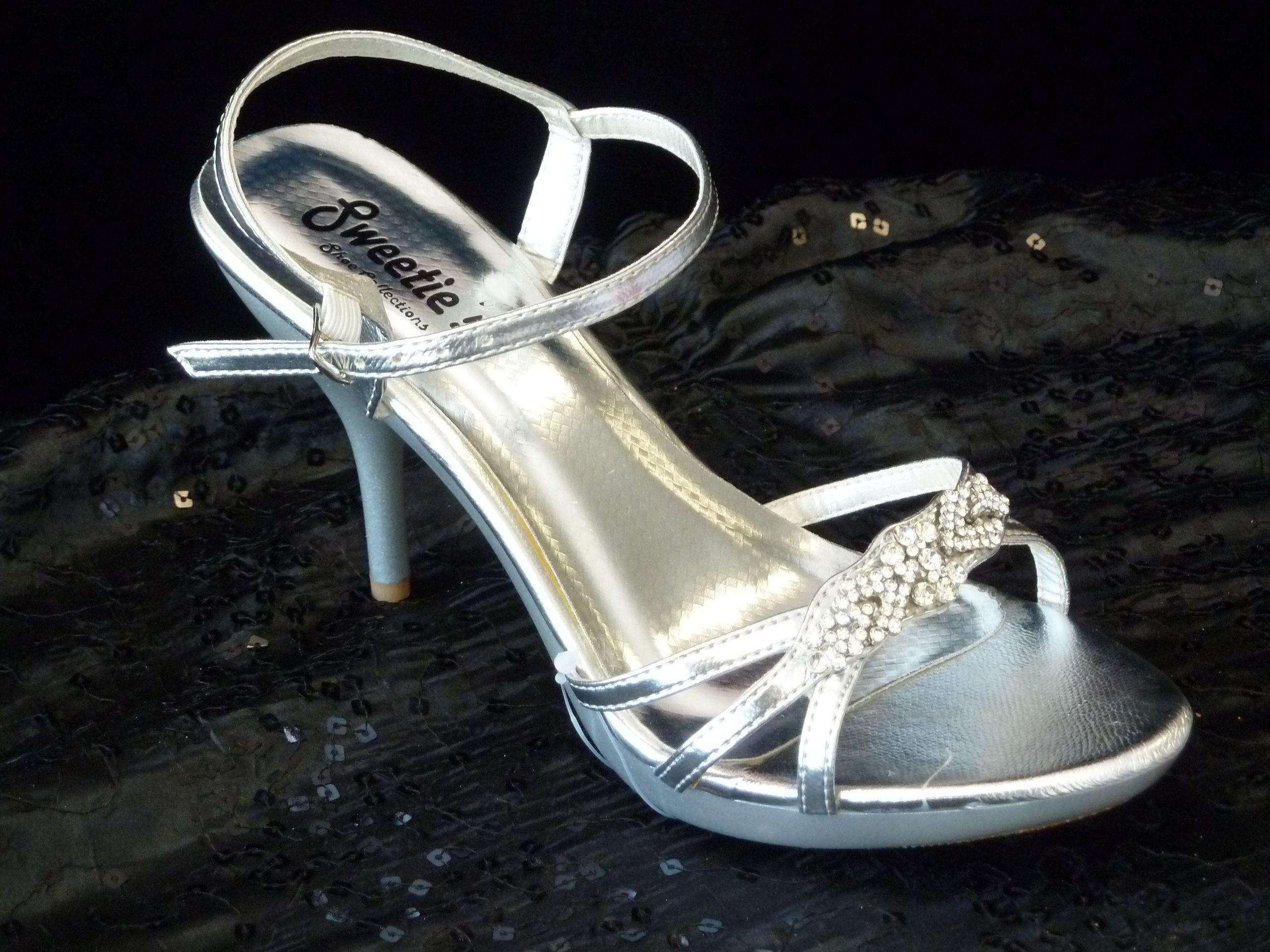 Silver Rhinestone Platform Sandal 2 3/4 inch heels!   Wedding ...