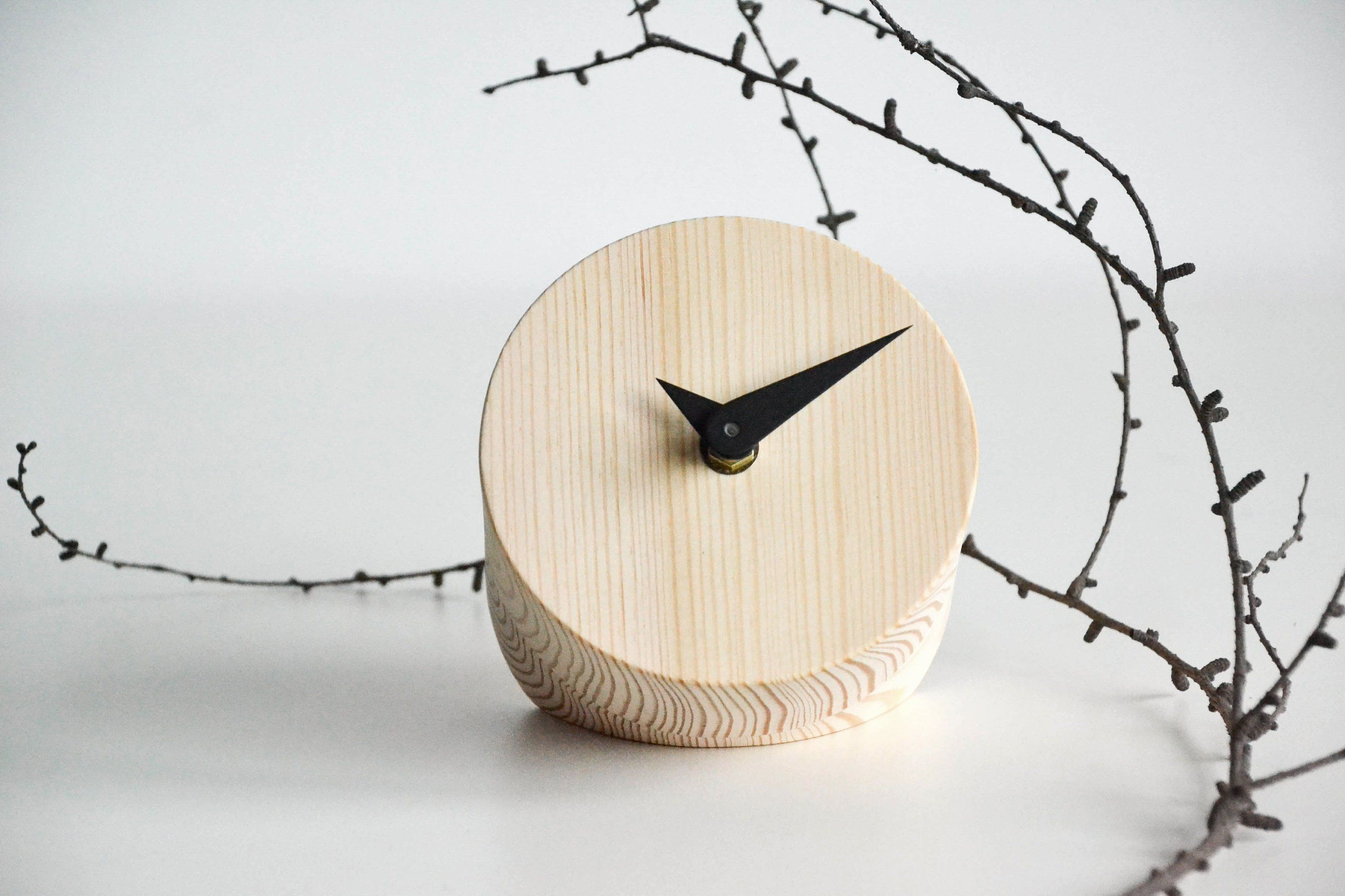 Round Wooden Table Clock Small Wooden Clock Table Clock Minimal