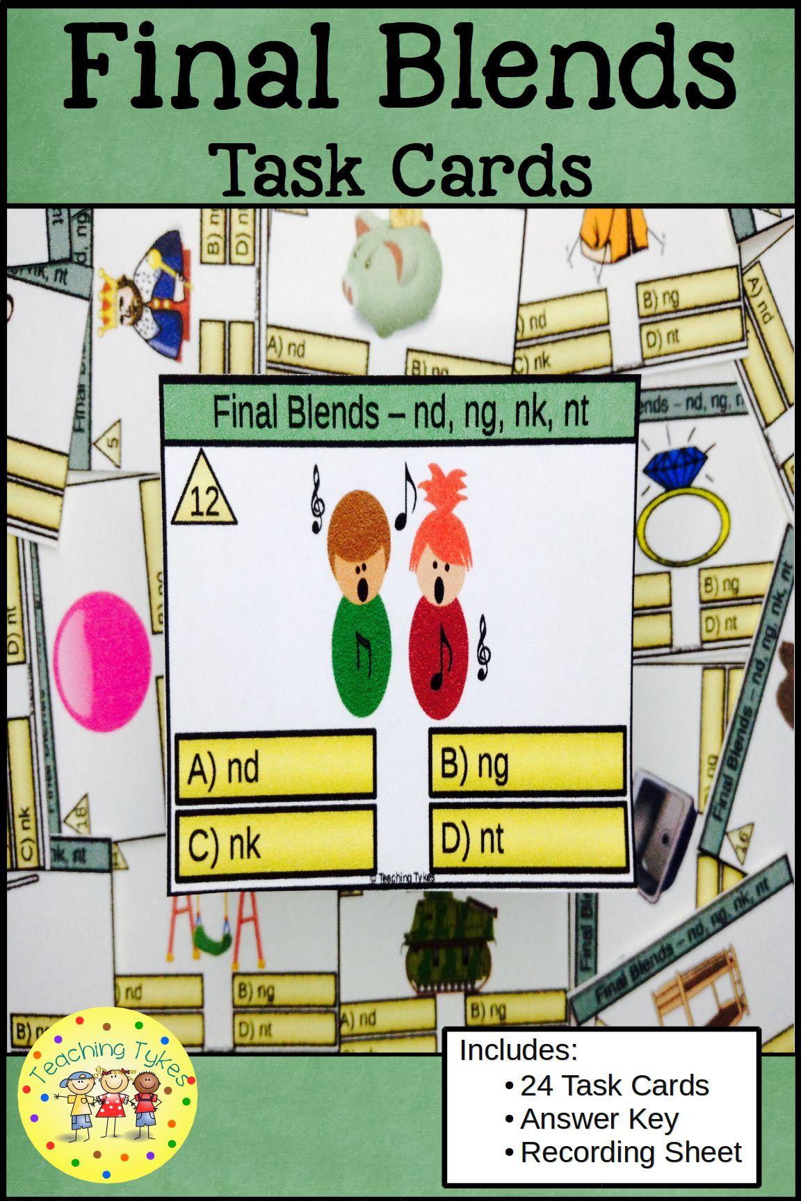 Final Blends Task Cards Nd Ng Nk Nt