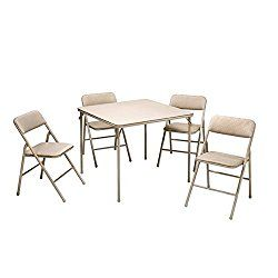 Cosco Folding Table And 5 Piece Chairs Set Heavy Duty Tubular