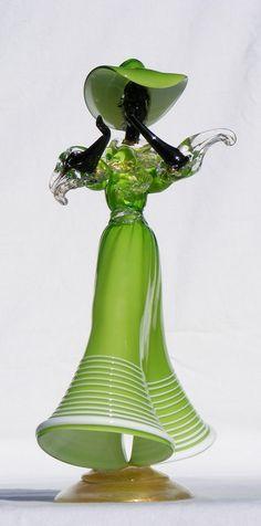 Murano lime green glass figure
