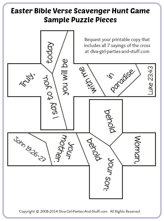 Easter Bible Verse Scavenger Hunt That Involves Finding Pieces To And Assembling The 7 Sayings Of Cross