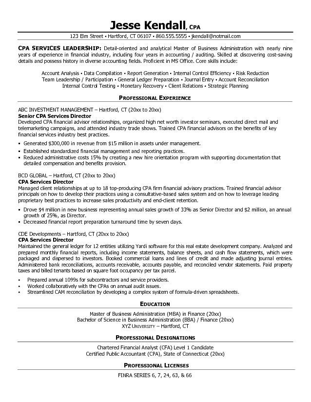 certified public accountant cpa services director resume example - mba candidate resume
