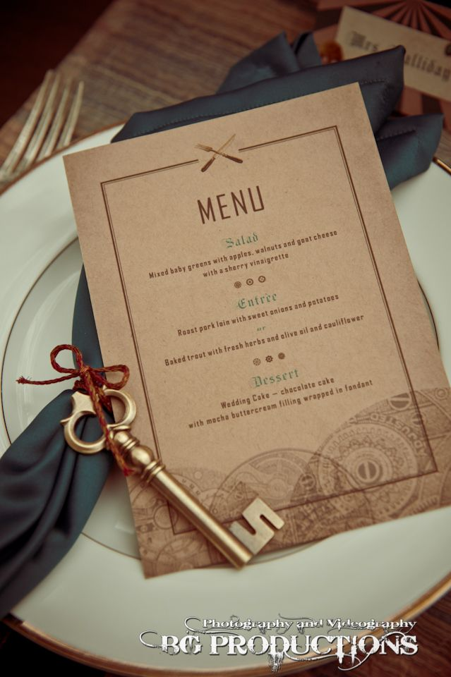 paper style wedding invitations%0A Steampunkinspired menu  Created by Little Woman Design