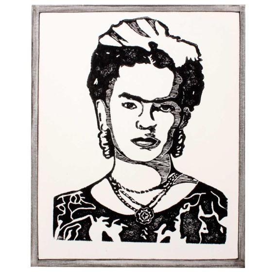 Frida- xilogravura sobre tela - tamanho 40x50