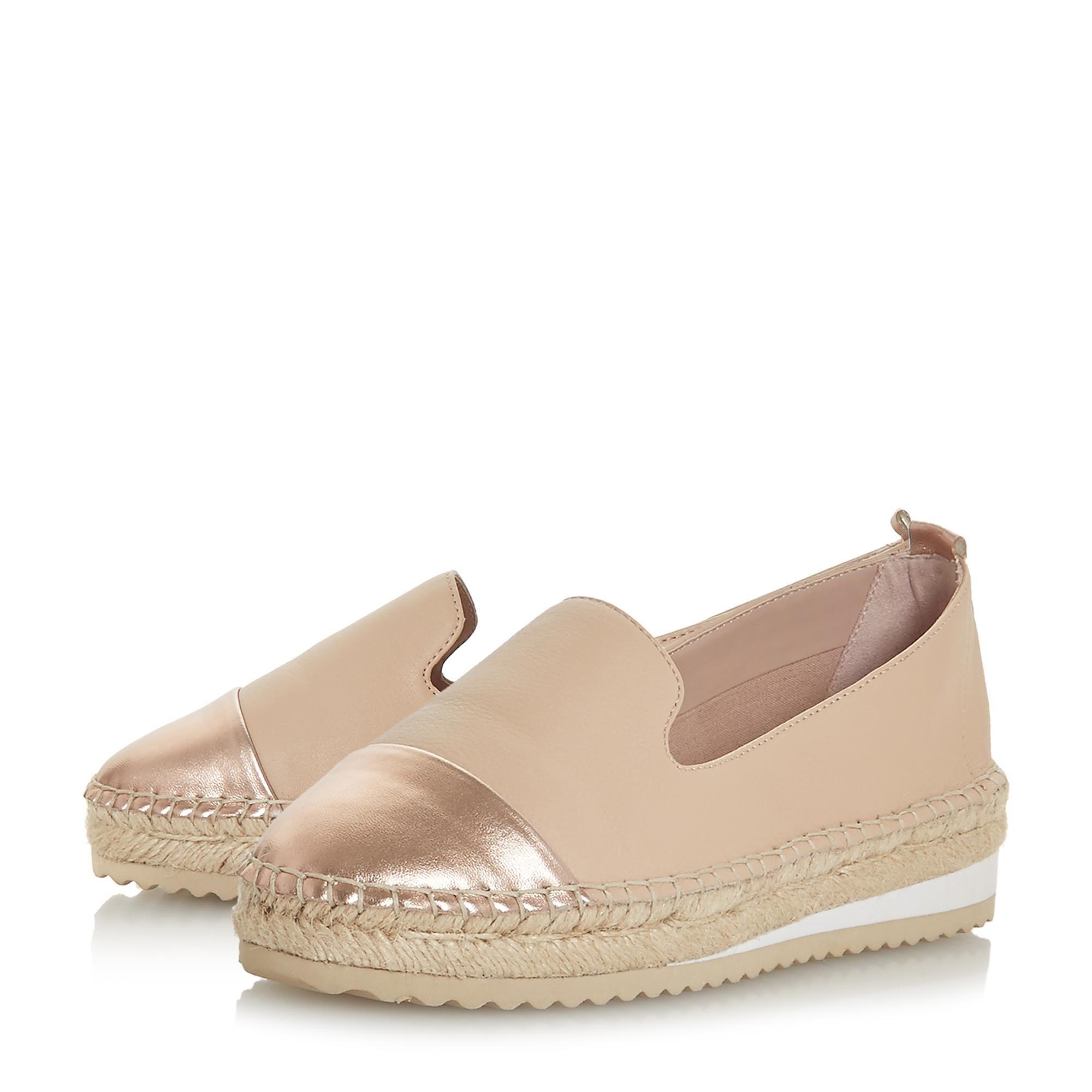 Slip on Shoe with Espadrille Sole and Metallic Toe Cap - Pink Dune London 4rLXYQ