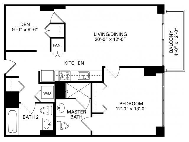1 bedroom plus den floor plan of property trio in chicago for Apartment floor plans 1 bedroom with den