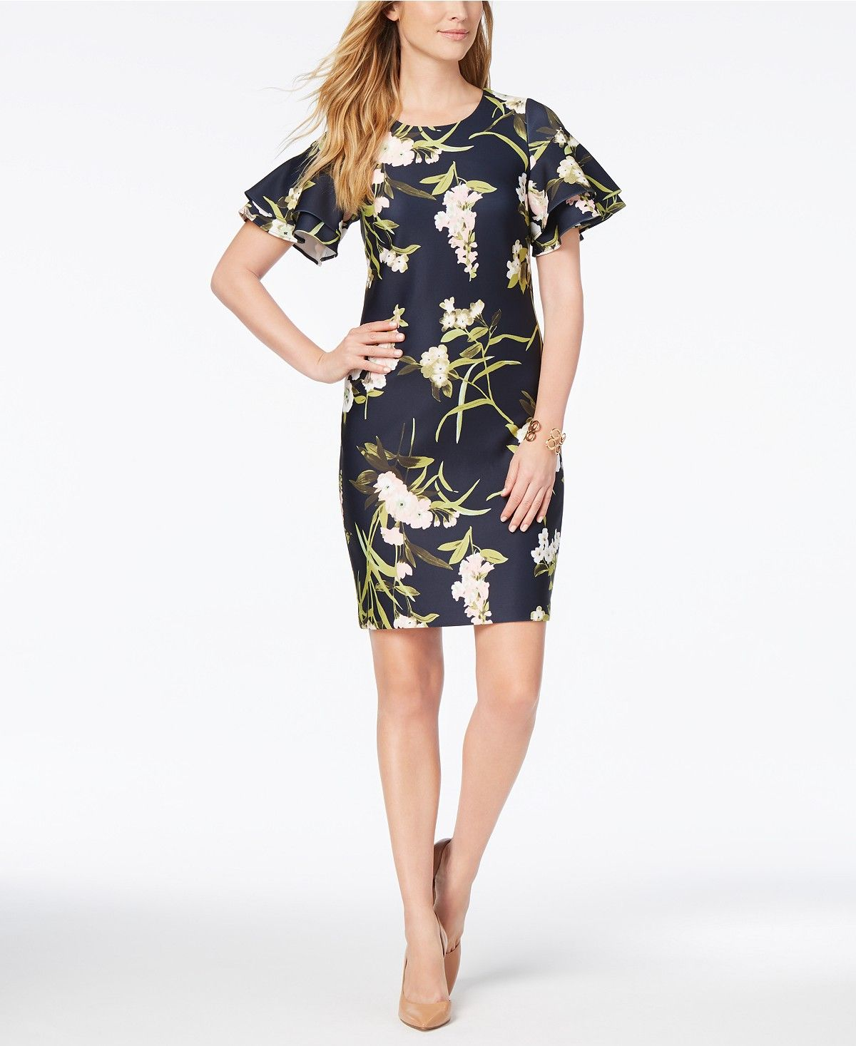 Tommy Hilfiger Fl Print Ruffle Sleeve Scuba Dress Dresses Women Macy S