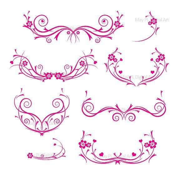 Flourishes HOT PINK Decorations Damask Decorative Flower Curly ...