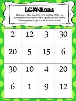 least common multiple dice game teaching mathematics least common multiple lcm gcf. Black Bedroom Furniture Sets. Home Design Ideas