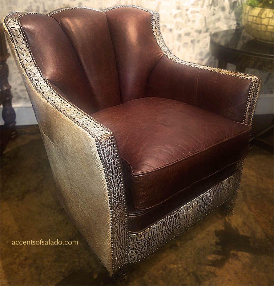 Wondrous Genuine Leather Club Chair Crocodile And Cowhide Accents Of Spiritservingveterans Wood Chair Design Ideas Spiritservingveteransorg