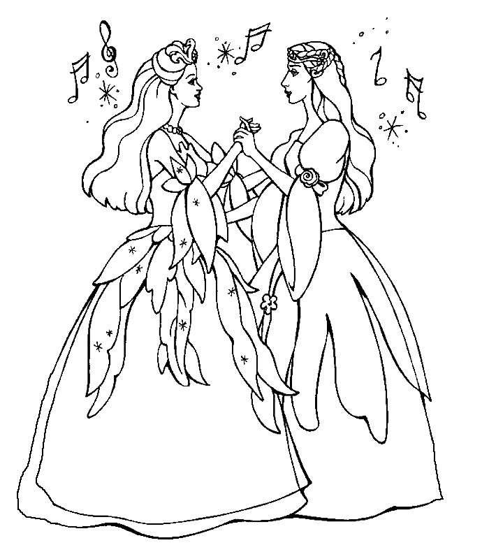 Two Singing Barbie Coloring Page Barbie Coloring Barbie