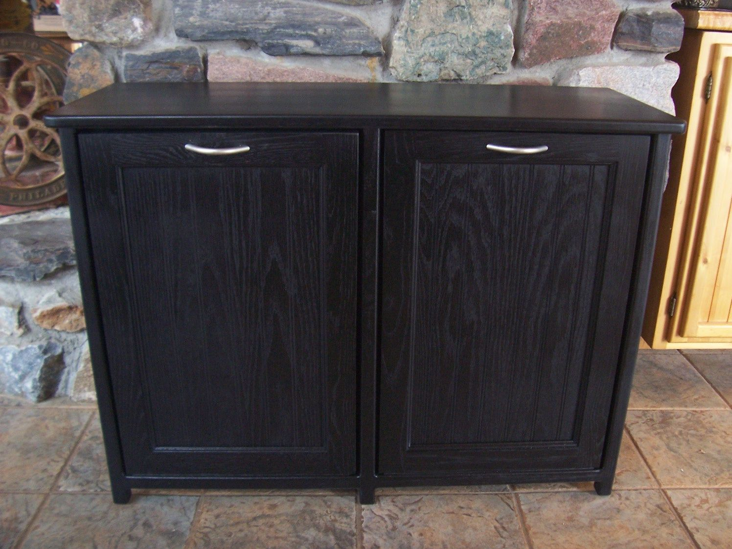 New Black Painted Wood Double Trash Bin Cabinet Garbage Can Tilt ...