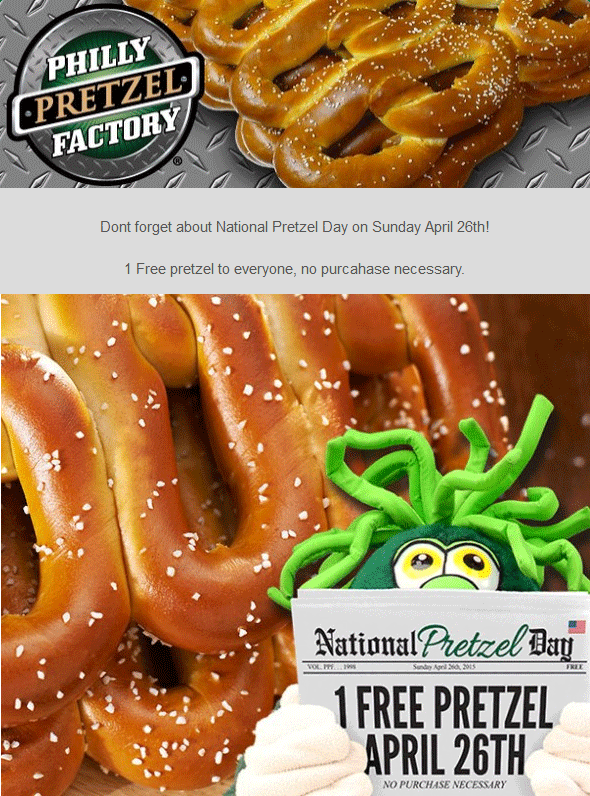 photograph relating to Philly Pretzel Factory Coupons Printable titled Pinned April 22nd: #Cost-free pretzel Sunday at Philly Pretzel