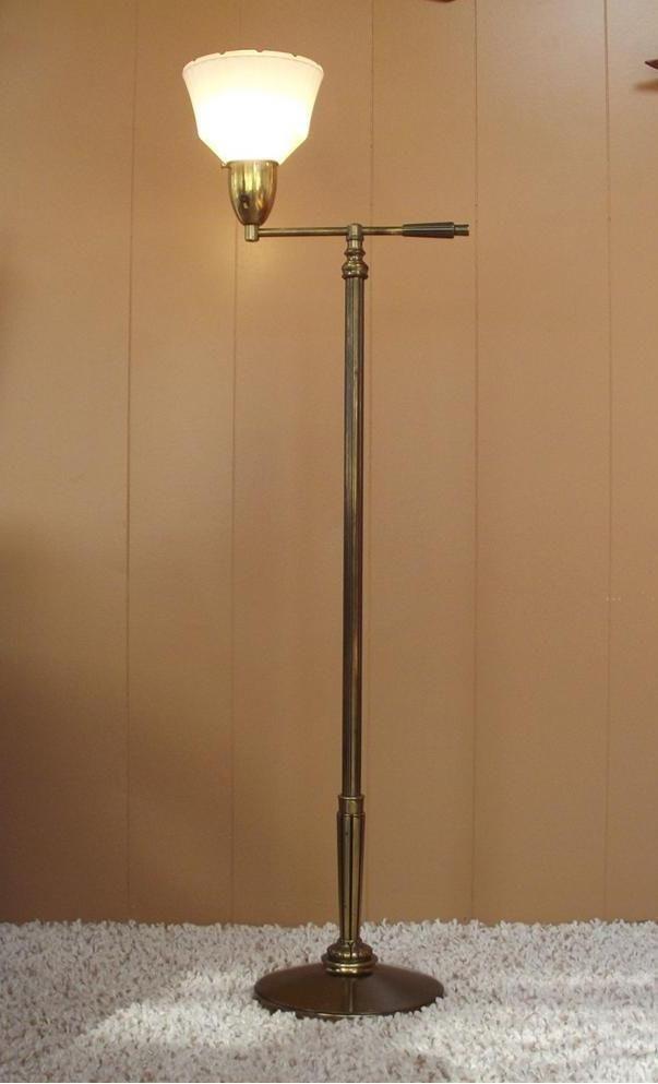Vintage Mid Century Stiffel Art Deco Torchiere Floor Lamp