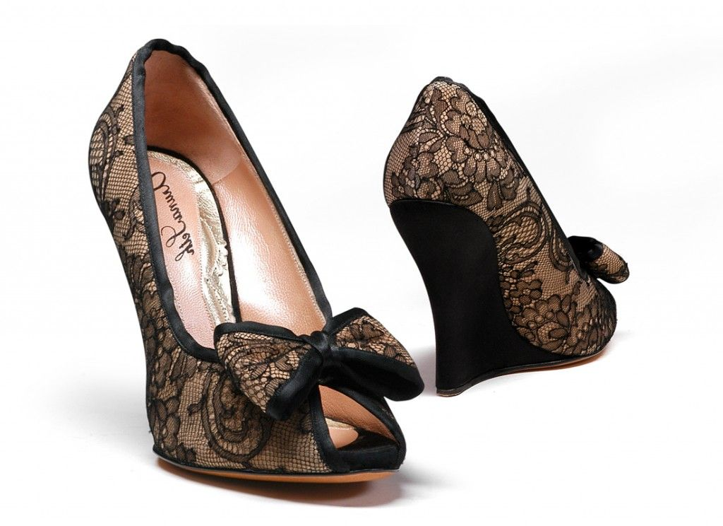 Cerise black satin wedge with chantilly lace designer
