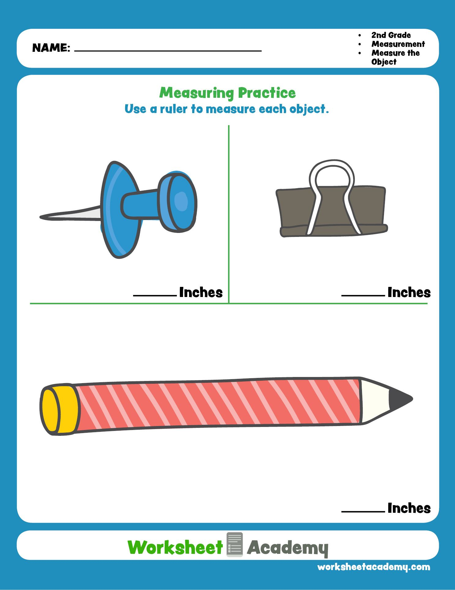 Measuring Practice: Inches   Homeschool worksheets [ 1925 x 1487 Pixel ]