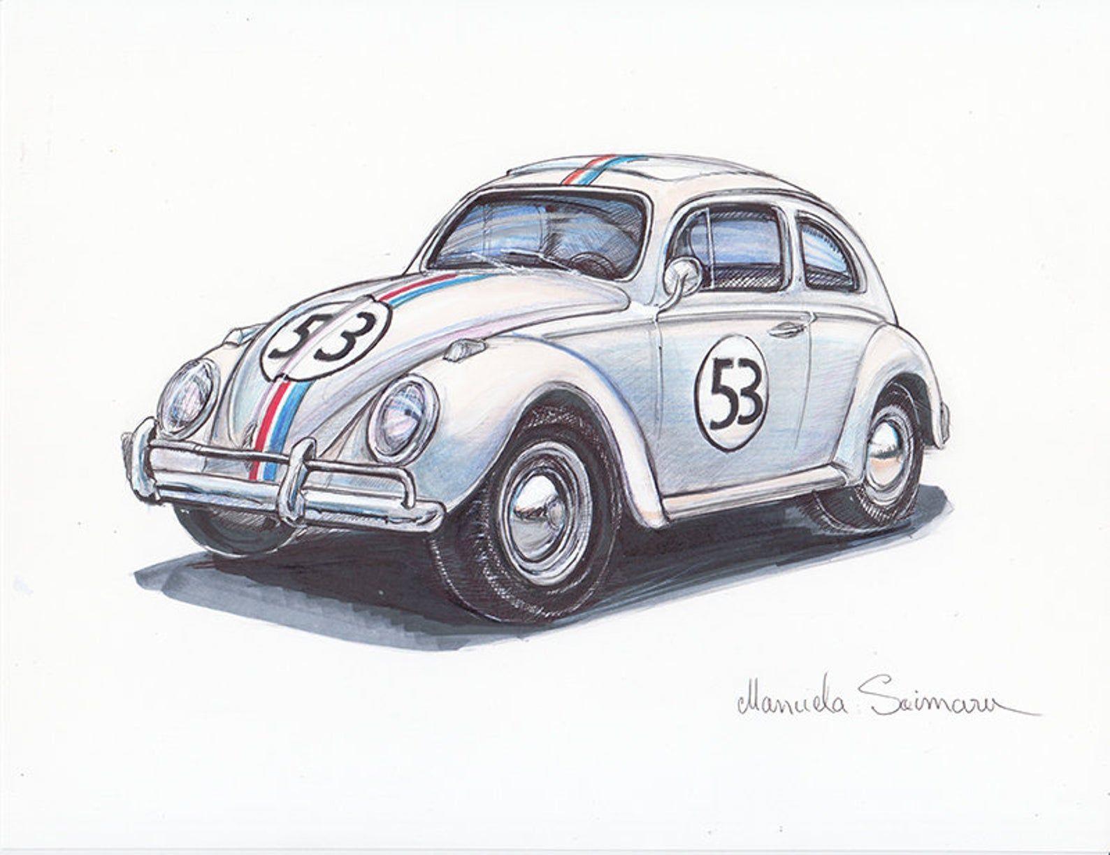 1963 Volkswagen Beetle Drawing Herbie Fully Loaded Art Print | Etsy