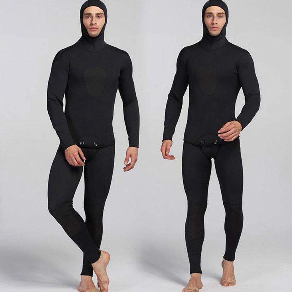 Myledi Mens 2 Piece 3mm Closed Cell Wetsuit With Hood Scuba Diving Suit Uv Clothing Surf Suit