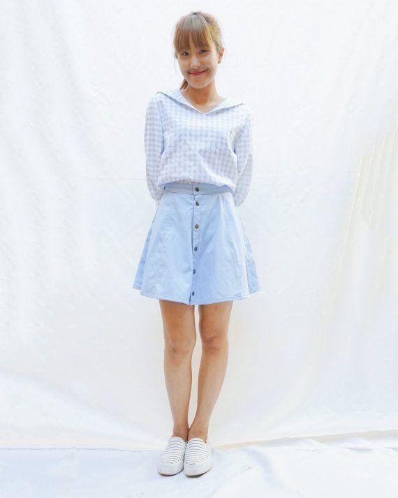 Button denim half circle skirt  Short ver. mini by OONTOODstyle