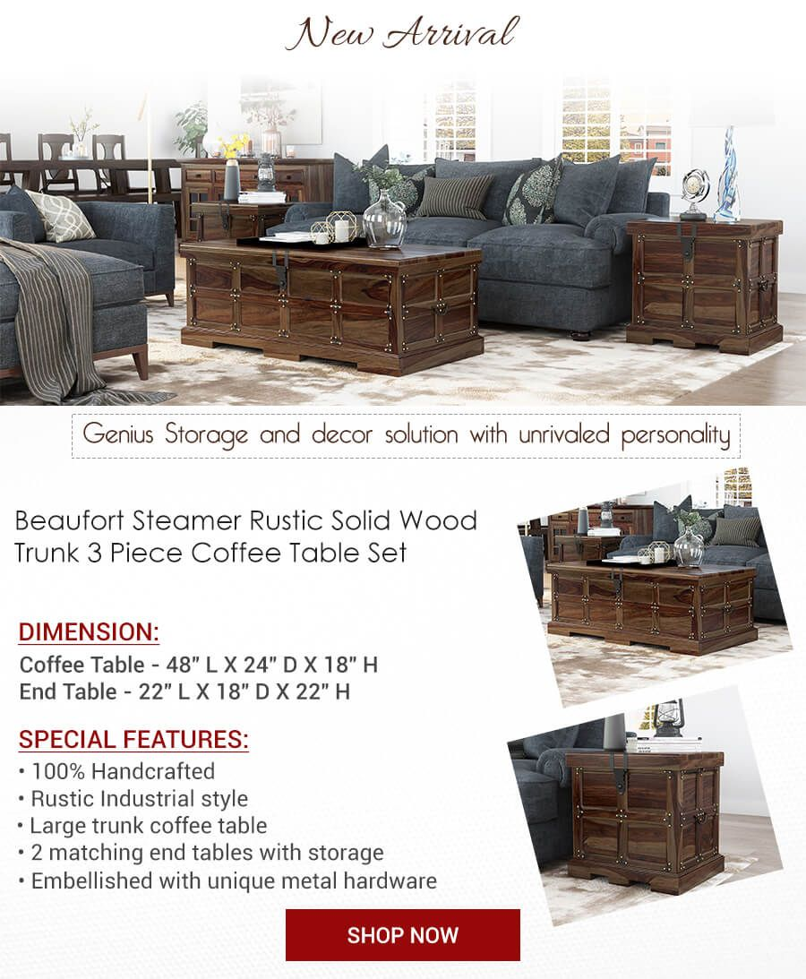 Rustic Solid Wood Trunk 3 Piece Coffee Table And End Table Set Industrial Style Living Room Coffee Table Solid Wood Coffee Table [ 1093 x 900 Pixel ]