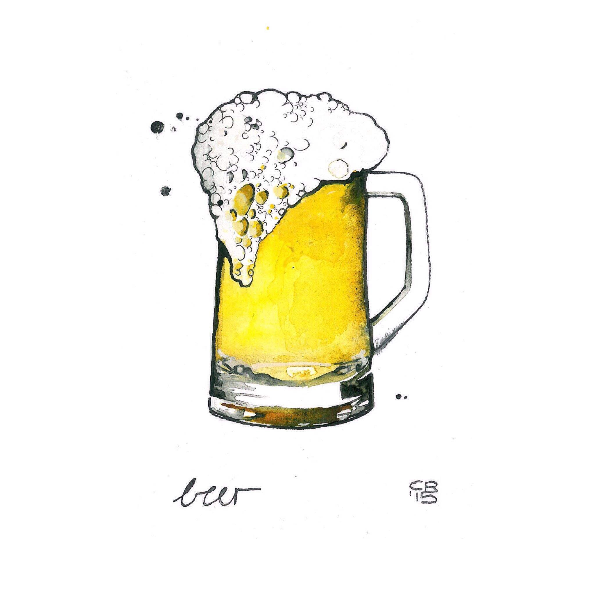 beer - watercolor and ink on paper