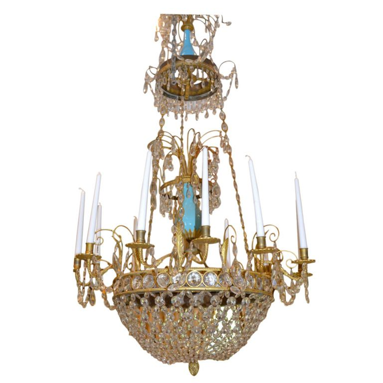 Prussian or russian 18th century chandelier with turquoise glass prussian or russian 18th century chandelier with turquoise glass aloadofball Image collections