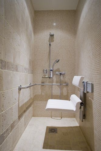 grab bars and a shower with a fold-down seat in the