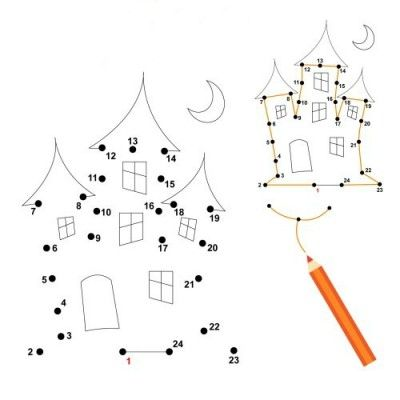 printable conect the dots halloween haunted house coloring pages